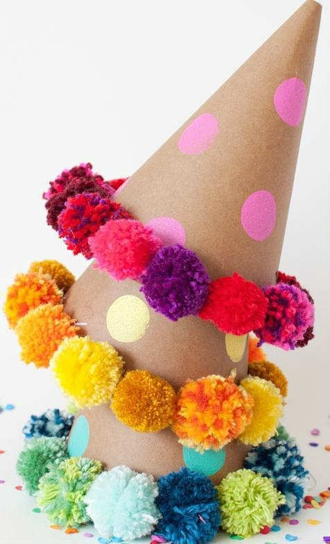 10 Perfect Pom Pom Crafts Part 2 Party Hats, Diy Pom Poms and
