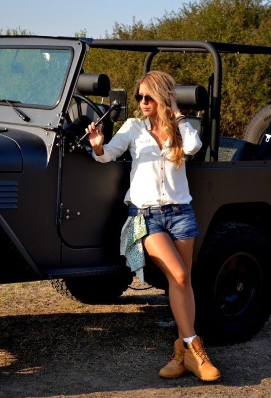 Zara  Shirt / Blouses, Guess  Shorts and Timberland  Boots