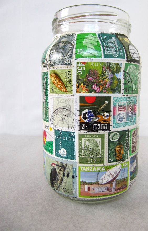 Stamp-Lampe Upcycled Glas Glas Kerze Teelichthalter von LuniqueUK
