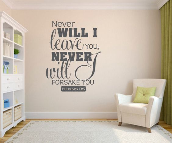 Wall decal bible never will i leave you code 090 for Bedroom vinyl quotes