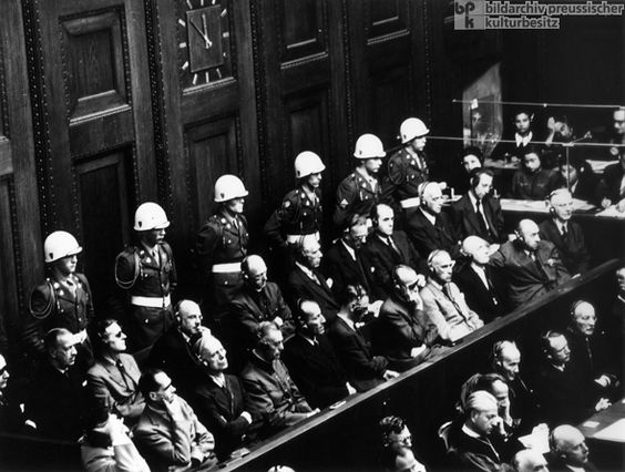 I thought that this photo was necessary because it shows the opening of the Nuremberg Trial... it's interesting to know that the lighting was super bright and that these horrible people were actually offered sunglasses