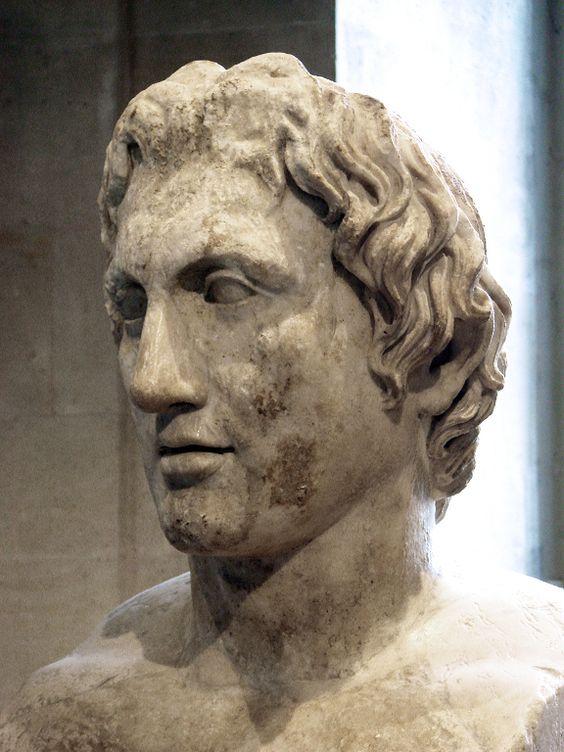 Busto de Alejandro Magno conocido como «Herma de Azara». Copia romana en mármol de un original de Lisipo, c. 330 a. C. (Museo del Louvre)