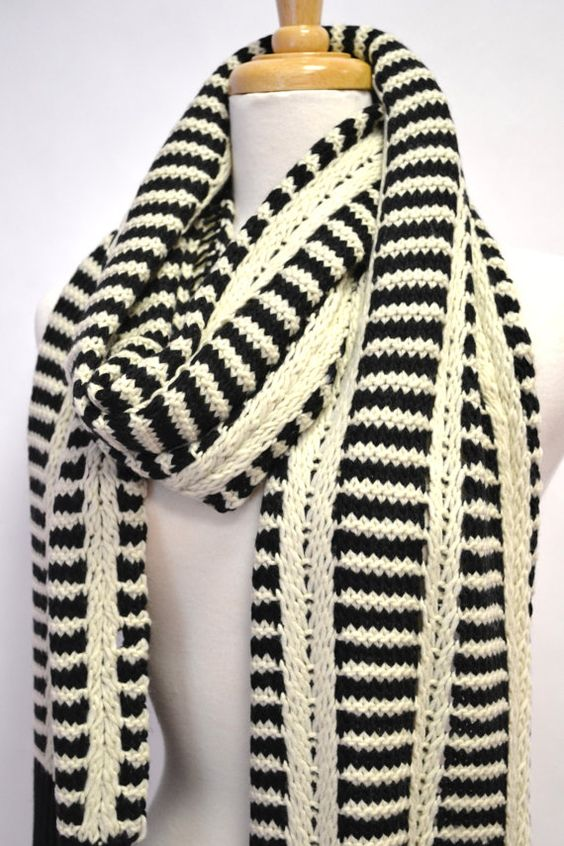 black white knitted striped unisex chunky thick