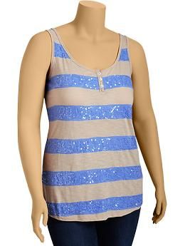 Women's Plus Striped Sequin-Front Henley Tanks | Old Navy