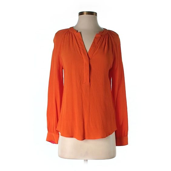 Pre-owned Banana Republic Long Sleeve Blouse (42 CAD) ❤ liked on Polyvore featuring tops, blouses, orange, orange top, orange blouse, red top, red blouse and banana republic