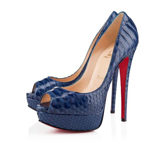 christian louboutin men's shoes - Lady Peep 150 Navy Python.....I really want these, I don't have ...