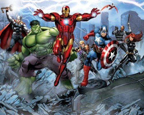 walltastic 8 x 10 ft avengers assemble wallpaper mural by