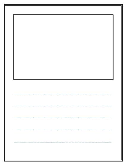 write and draw  lined paper with space for story