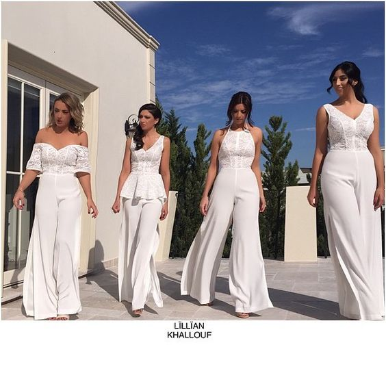 Bridesmaids in jumpsuits by @lillian_khallouf #hair @melissacauchihairdressing…: