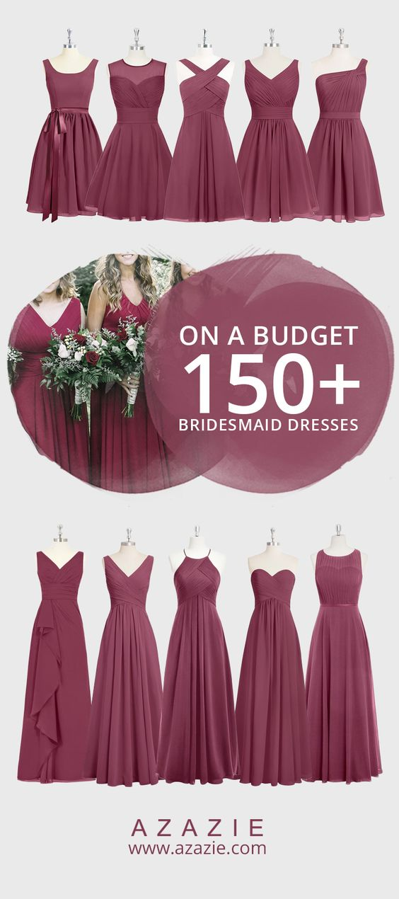 Like an Autumn evening at home with a fireplace and the smell of cinnamon and apple pie in the air, Mulberry is Fall in a nutshell. Choose this enchanting color for your Fall wedding! Also, let your bridesmaids' personal styles sparkle by mix-and-matching the designs on each girl. Choose from 150+ designs, all for $150 or less!