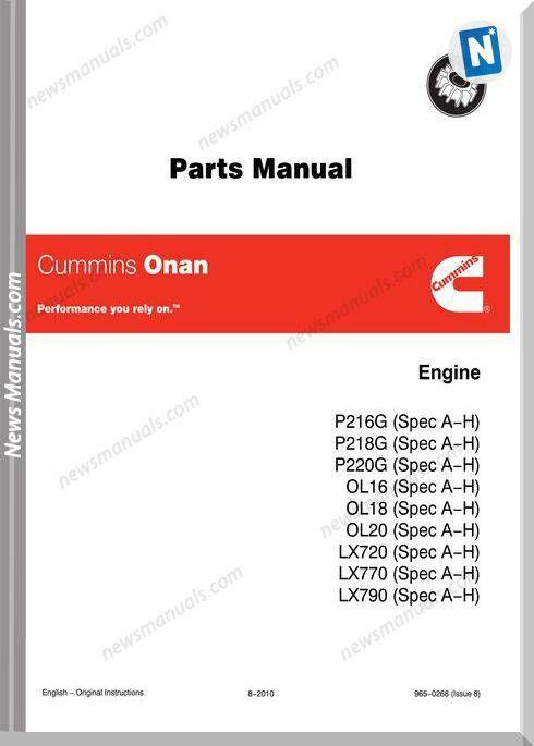 Cummins Onan P216 Parts Manual