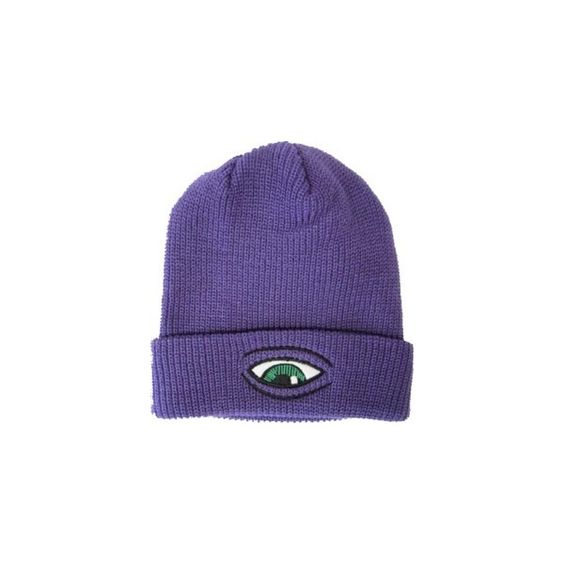 Toy Machine Sect Eye Dock Purple One Size Fits All Beanie ($20) ❤ liked on Polyvore featuring accessories, hats, beanies, head, purple beanie, beanie hats, purple beanie hat y purple hat