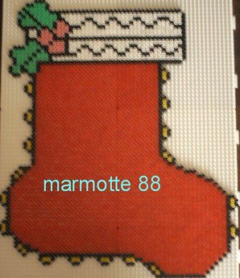 Christmas stocking hama perler by marmotte88130