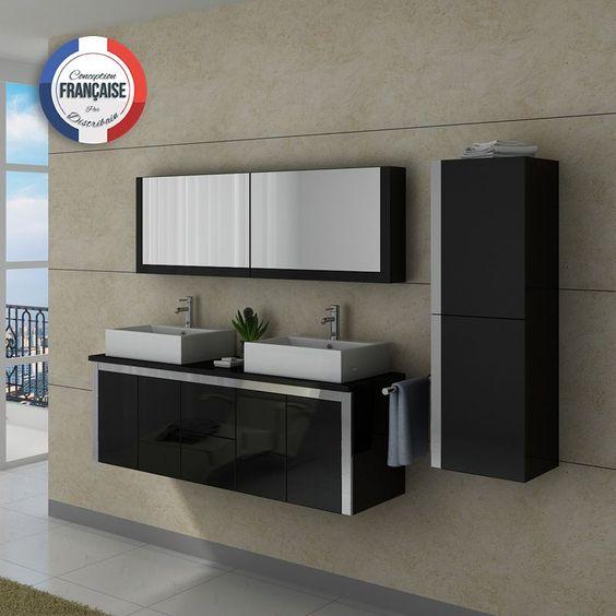 DIS026-1500N Meuble salle de bain noir
