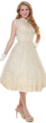 Authentic 1950's Vintage Beige Silk & Lace Button Up Dress