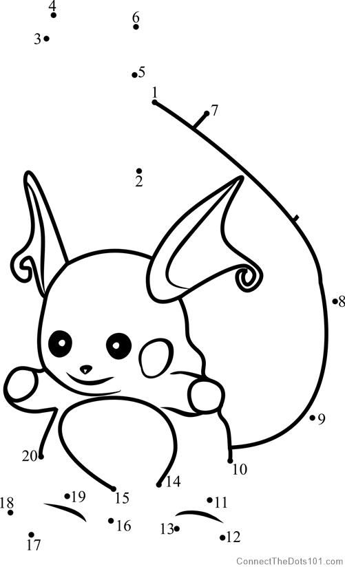 Raichu Pokemon Go Dot To Dot Raichu Pokemon Go Pokemon Coloring Pages Pokemon Go