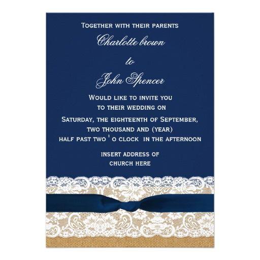 FAUX burlap, lace and navy blue ribbon invites