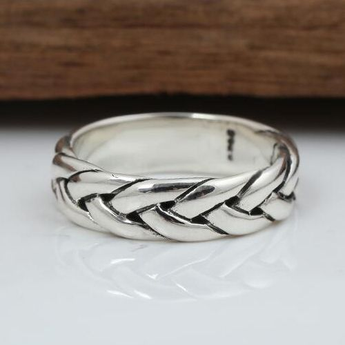 Men S Sterling Silver Braided Pattern Band Ring In 2020 Rings