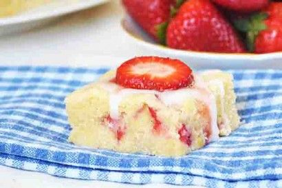 Strawberry Lemon Bars  So yummy and so easy to make!  Tastes like a cross between a lemon shortbread cookie and a strawberry scone with a lemon glaze.