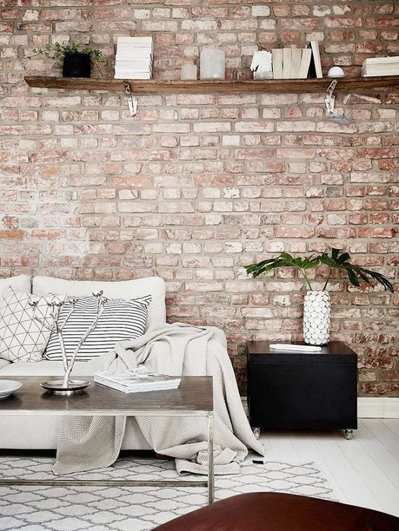 Living Room With Muted Red Brick Wall And Neutral Furniture Brick Wallpaper Bedroom Brick Wall Living Room Wallpaper Living Room