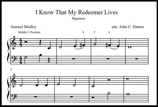 Free Beginner And Level 1 Sheet Music I Know That My Redeemer
