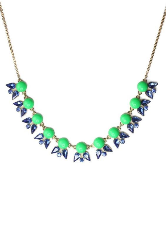 Neon Jewel Junebug Necklace- delicate statement necklace!