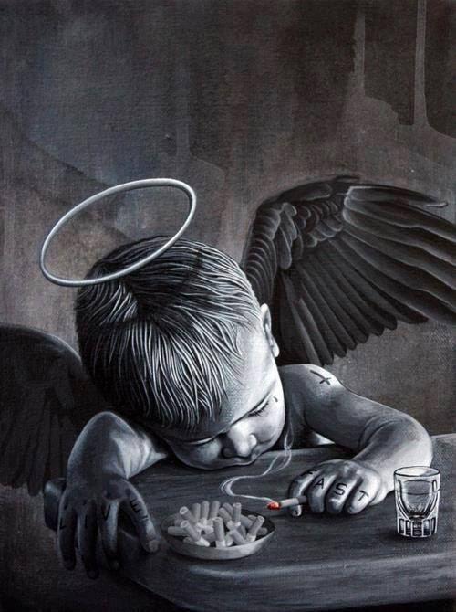 子供の堕天使のモノクロ・白黒写真の壁紙