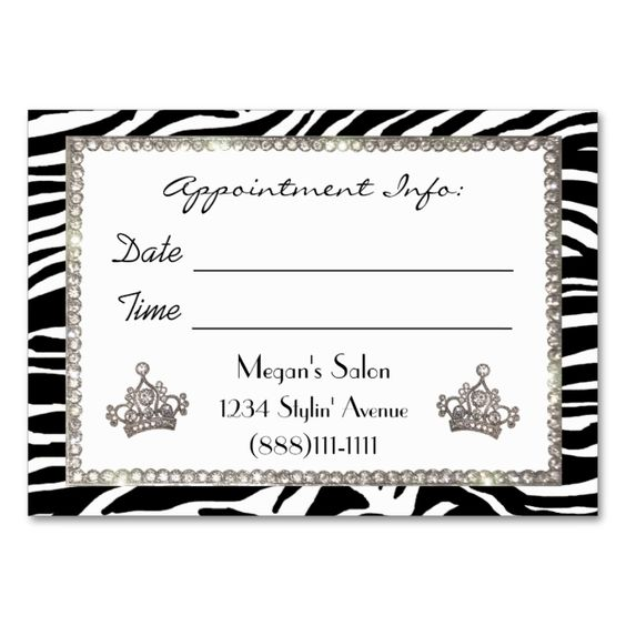 """""""Hair Salon"""" Diva Appointment Cards Large Business Cards (Pack Of 100). Make your own business card with this great design. All you need is to add your info to this template. Click the image to try it out!"""