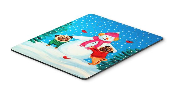 Snowman with Pug Mouse Pad / Hot Pad / Trivet