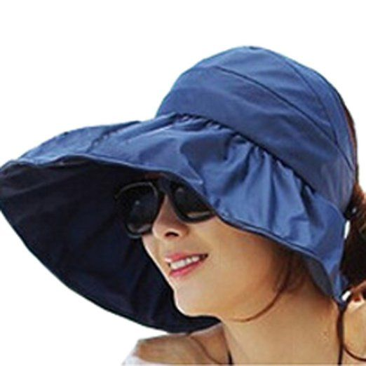 Women's Cotton Folding Large Wide Brim Sun Hat (One Size, Navy Blue)