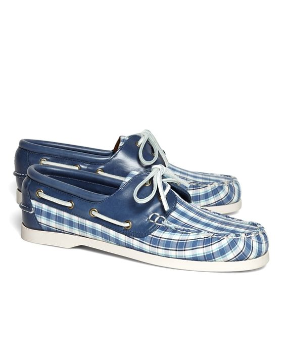 Brooks Brothers Seersucker Plaid Boat Shoes