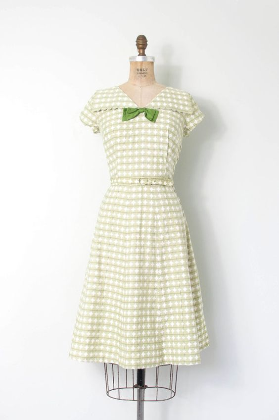vintage 1950s dress / green polka dot 50s cotton by SwaneeGRACE