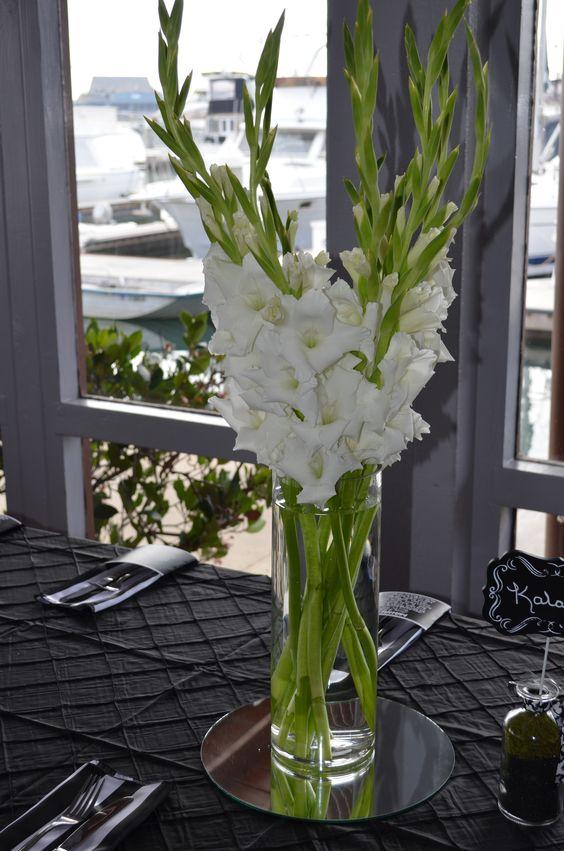 White Gladiolus Centerpieces