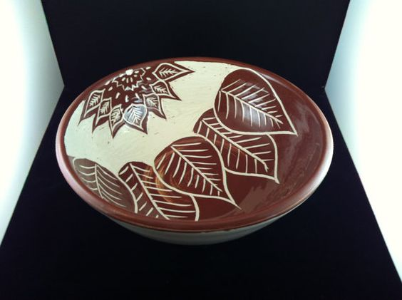 Red-Brown Sgraffito Bowl