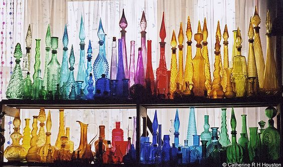 Ohhh pretty!  Reminds me of my ninety-one year old grandmother who collects the most beautiful blue glass bottles.