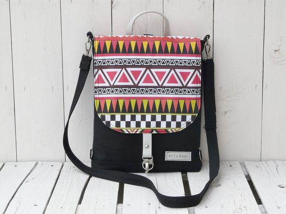 Bunte Umhängetasche mit Mustern / colored bag with patterns by ArisBag via DaWanda.com