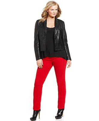 MICHAEL Michael Kors Plus Size Leather Front Jacket & Skinny Jeans ...