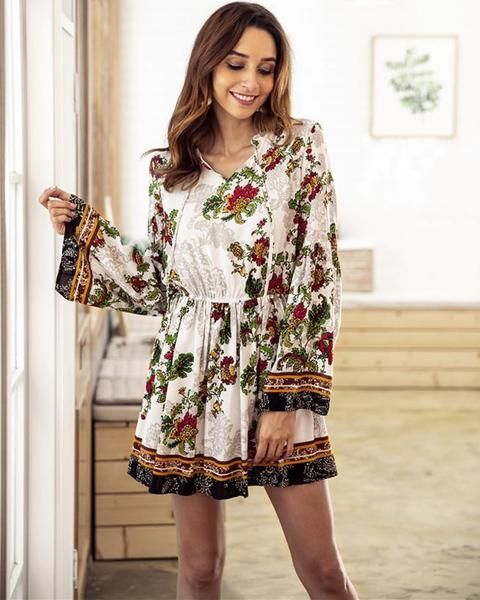 Women/' V-Neck Floral Print Long Sleeves Knitted Sweater Dress Jumper Pullover