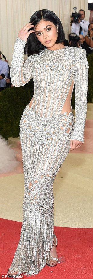 Nailed it! Kylie Jenner in her Met Gala beaded Balmain dress