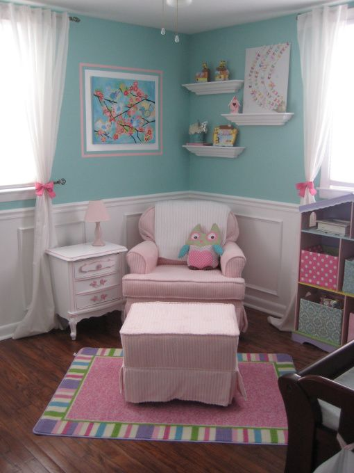 "Aqua & Pink... darling nursery colors and another great way for the room to ""grow up"" with the little one.:"