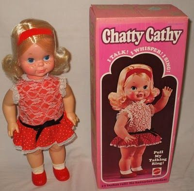 Chatty Cathy was a doll manufactured by the Mattel toy company from 1959 to 1965. The doll was first released in stores and appeared in television commercials beginning in 1960. Chatty Cathy celebrated her 50th birthday in 2010. I remember always wanting one and got her for Christmas one year.