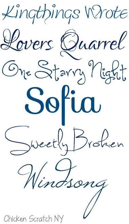 Kingthings Wrote, One Starry Night, Sofia, Sweetly Broken, Windsong free fonts (from Chicken scratch NY