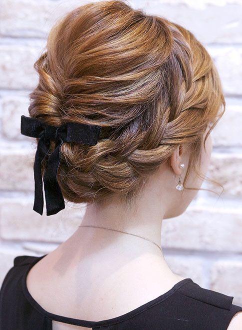 編み込みアップスタイル 髪型ロング 髪型 およばれ ヘアスタイル