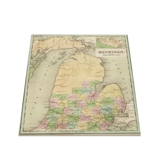 Vintage Map of Michigan (1838) Canvas Print