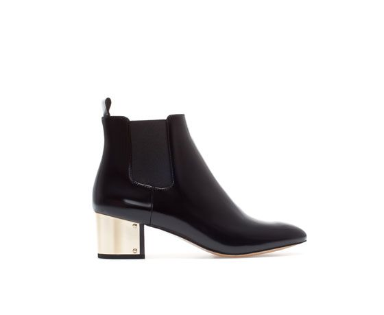 Image 1 of ANKLE BOOT WITH METAL HEEL from Zara gold heel detail ...