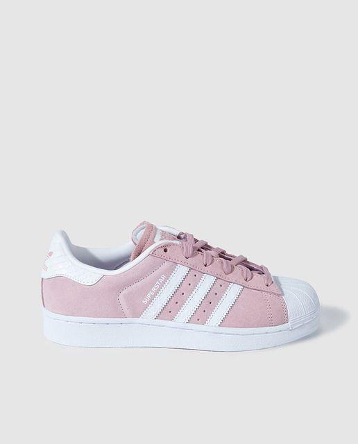 Zapatillas deportivas de mujer rosas con rayas blancas ...