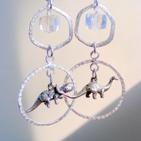 Dinosaur and Rock Crystal Sterling Silver Hoop Earrings