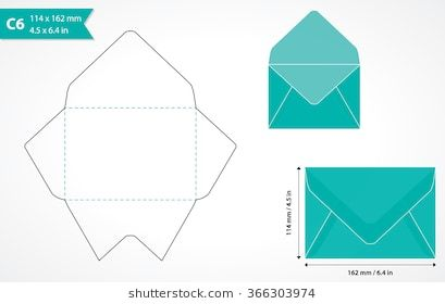 Cutout Paper Envelope Template Perfect For Making Your Own