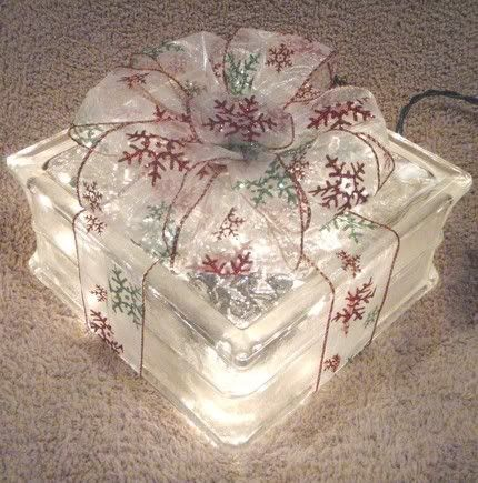 String Lights For Glass Blocks : Glass Block_ Gift-Wrapped hole drilled and string of 35 clear lights inside. Add beautiful bow ...
