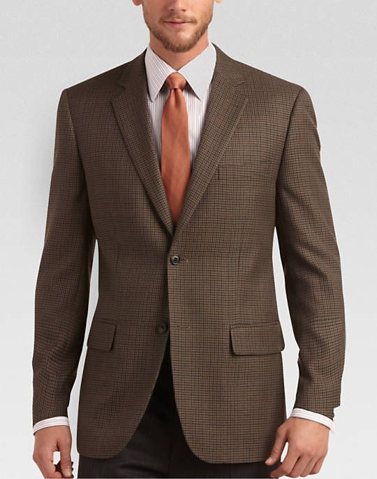 Joseph &amp Feiss Brown Check Classic Fit Sport Coat - Classic Fit